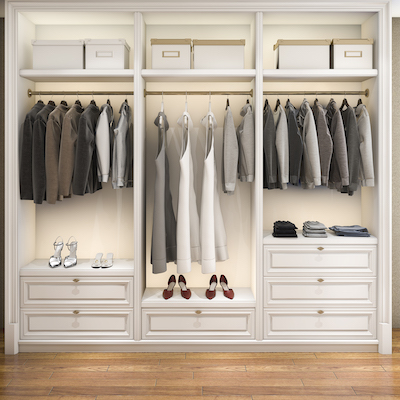 Illustration of organized closet for organizing your wardrobe blog